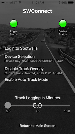 Settings Screen with current track